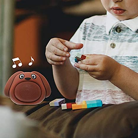 Built-in Microphone USB Rechargeable Battery HUGMO Brown Dog Compact Bluetooth Portable Speaker