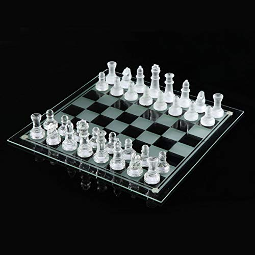RanDal 20 * 20/25 * 25Cm High-End Elegant K9 Checker Glass Chess Game Set Decoraciones Para El Hogar – S