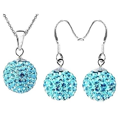 Afco 2Pcs/Set Girls Ball Shaped Charm Rhinestone Hook Earrings Necklace Jewelry Gift Matching Diary Lake Blue]()