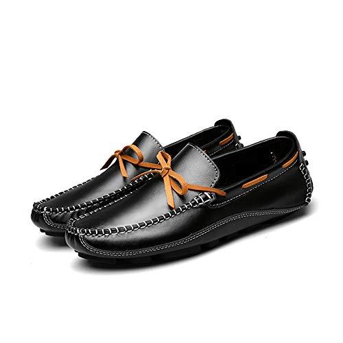 Cordones 27 24 de de Gommino 0cm Planos Zapatos para Hcwtx Hombres Negro Zapatos genuinos Gommino 0cm de Mocasín Mocasín con conducción Zapatos Zapatos Zapatos Barco Tamaño Cuero Ocasionales gx01Af