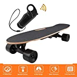 shaofu Electric Skateboard Youth Electric Longboard with Wireless Remote Control, 12 MPH Top Speed, 10 Miles Range (US Stock) (Black)