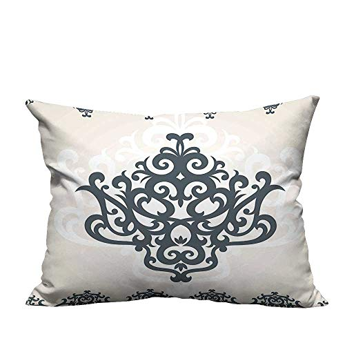 alsohome Pillowcase with Zipper Eastern Motif with Arabic Effects Filigree Swirled Artsy Print Pearl Grey Cushion Cotton and Linen13.5x19 inch(Double-Sided Printing)