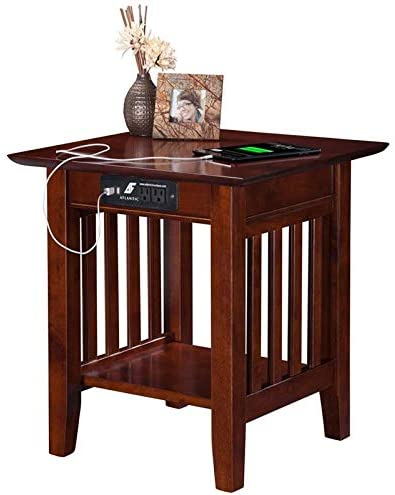 Leo Lacey Charger End Table in Walnut