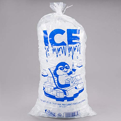 TableTop King 20 lb. Wicketed Ice Bag with Handle - 500/Case
