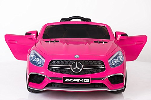 Mercedes Benz Ride On Car, 12V Licensed Kids Electric / Battery Power Toy RC Car Radio, Remote, MP3, LED Lights, Auto Safety Break Children 3-6 Years – Pink (Licensed Car)