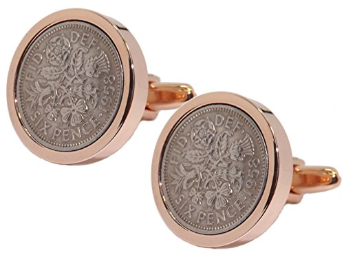 Coins Set in a Rose Gold Plate Setting Mens 60 Years Gift Cuff Links by CUFFLINKS DIRECT (Cufflinks With Gift Bag) (Gold Link Bag)
