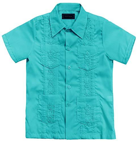 Guytalk Kids Boys' Guayabera Short Sleeve Shirt Mint ()