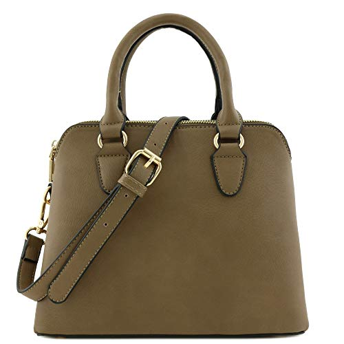 (Classic Double Zip Top Handle Dome Satchel Bag (Taupe))