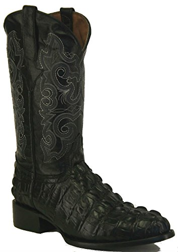 Men's Crocodile Alligator Tail Cut Lather Cowboy Western Round Boots Black (8 E US)