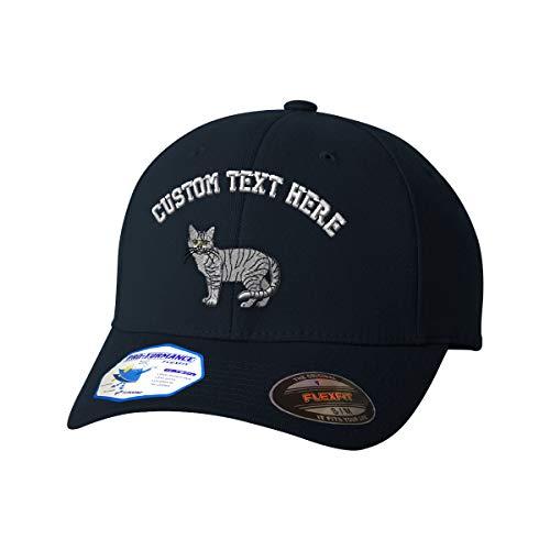 Custom Text Embroidered Shorthair Tabby Cat Unisex Adult Elastic Polyester/Spandex Flexfit Pro-Formance Hat Baseball Cap - Dark Navy