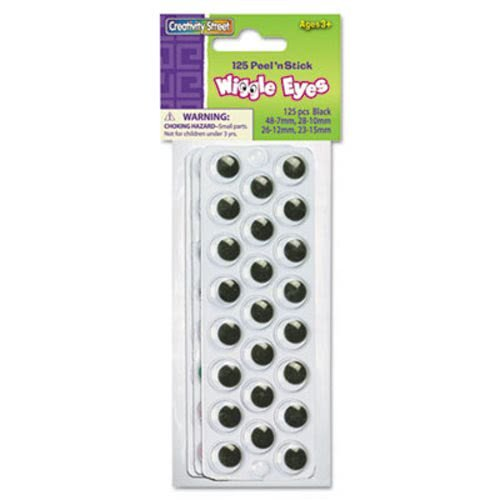 The Chenille Kraft Company Peel 'N Stick Wiggle Eyes, Assorted Sizes, Black, 125/Pack (63 Pack)