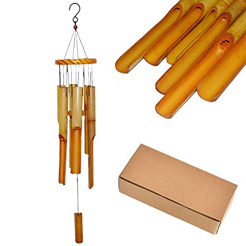 MeeDoo 32 Inches Bamboo Wood Wind Chimes with S Hook - Large Outdoor Wooden Melody Windchimes, Beautiful Indoor Music Tuned Wind Chimes for Garden, Yard, Patio, Porch, Balcony and Home Decor]()
