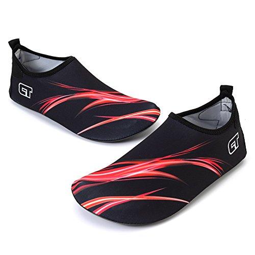 FCKEE Wasser Schuhe Aqua Schuhe Aqua Socken Slip-On Barfuß Leicht Quickdry Durable Sole Mutifunktional Für Strand Schwimmen Surfen Yoga Frauen Kind H.red