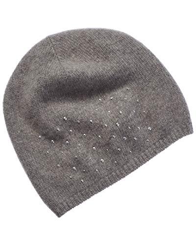 Portolano Womens Cashmere Hat with Rhinestones, Grey (Portolano Womens Cashmere)