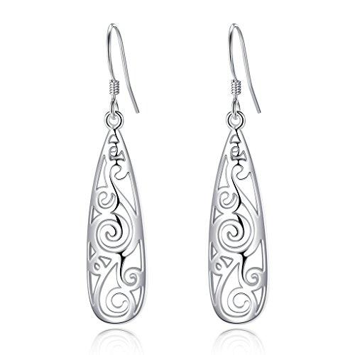 EVER FAITH Women's 925 Sterling Silver 1.8 Inch Simple Open Filigree Tear Drop Hook Dangle -