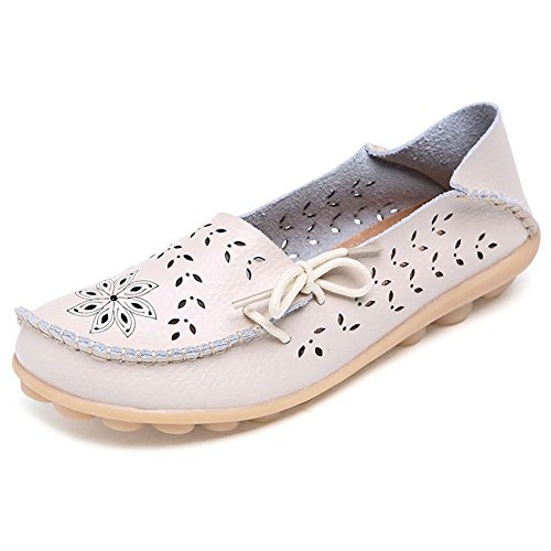 LONSOEN Women Moccasin Driving Shoes Casual Solid Leather Loafer and Slip On Boat Flats Beige1
