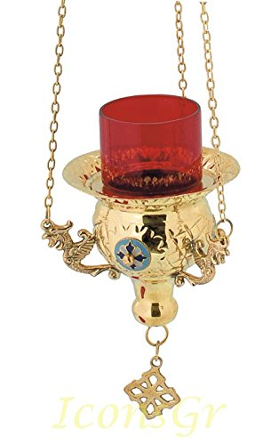 Gold Plated Orthodox Greek Christian Bronze Hanging Votive Vigil Oil Lamp with Chain and Red Glass - 9544g by Iconsgr