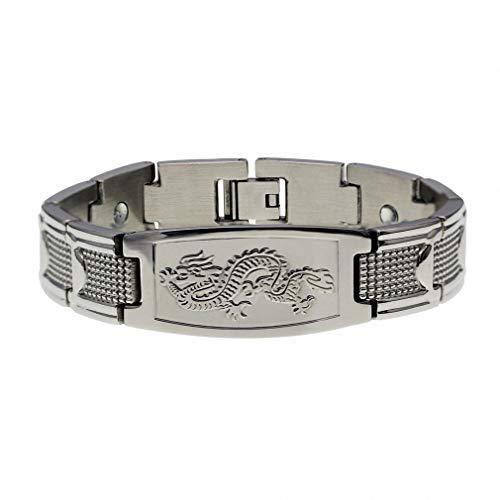 Hynsin Womens Mens Bracelet Men's Golden Chinese Power Dragon Strong Magnetic Energy Power Bangle Stainless Steel Bracelet Silver