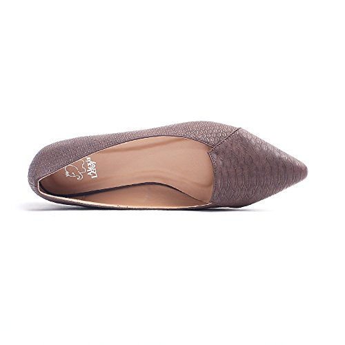 Alexis Leroy - Fashionable Snakeskin Pattern Pointed Toe Low Top Ballet Flats para mujer Marrón