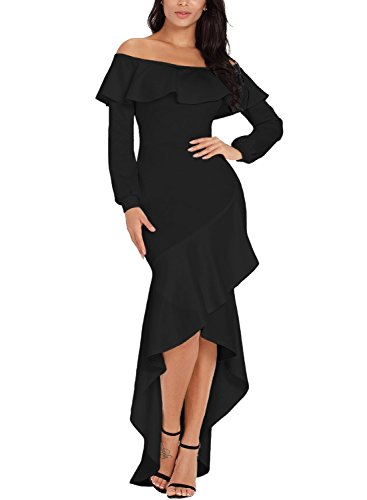 - Sidefeel Women Off The Shoulder Ruffle Long Sleeve Mermaid Formal Dress Small Black
