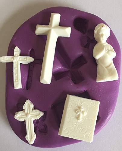 Molde de silicona para bautizo, diseño de cruz de comunión: Amazon.es: Hogar