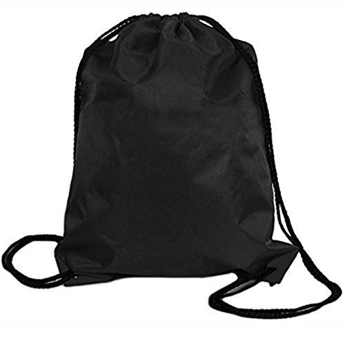 baskuwish Sports bags,Nylon Drawstring Cinch Sack Sport Travel Outdoor Backpack Bags (Black)
