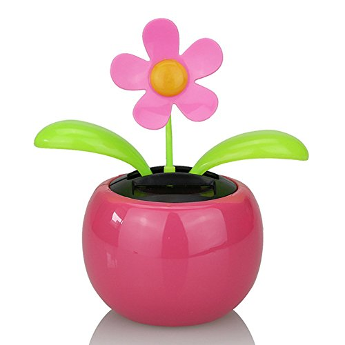 Holrea 1Pc Solar Power Automatic Swing Car Ornament Dancing Flower Flip Flop Leaves Car Display Dashboard Decor Interior Ornament Dancing Solar Toys Office Desktop Decor Pink
