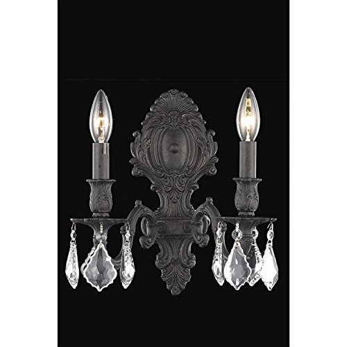 Elegant Lighting Monarch Collection 2-Light Wall Sconce with Swarovski Strass/Elements Silver Shade Crystals, Antique Bronze - Antique Bronze Crystal Monarch