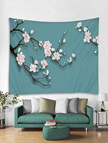 Pink Flower Tapestry Wall Hanging, Japanese Flower Blossom Tree Branch Asian Artwork Tapestries King Size for Spring Bedroom Decor Wall Blanket Aqua Pattern,71 x 90