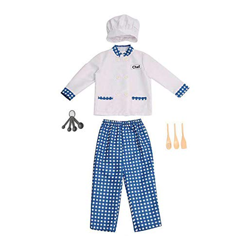 Wizland Child Role Play Dress Up Pretend Chef Costume Playset for Kids,4 pcs with Coat,Hat,Wooden Spatula,Spoons,for Boys Age 3-6 -