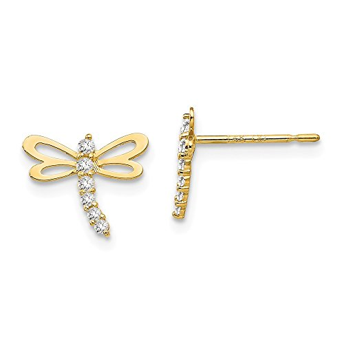 Solid 14k Yellow Gold CZ Cubic Zirconia Children's Dragonfly Post Earrings (11mm x 8mm)