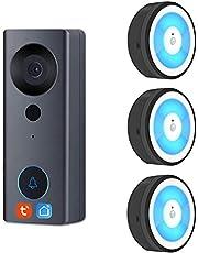 Tuya Smart Life Wifi Video Deurbel, Nachtlampje Chime, 1080p Visuele Deur Telefoon Audio Intercom Camera Werk Samen Met Alexa & Google Assistant