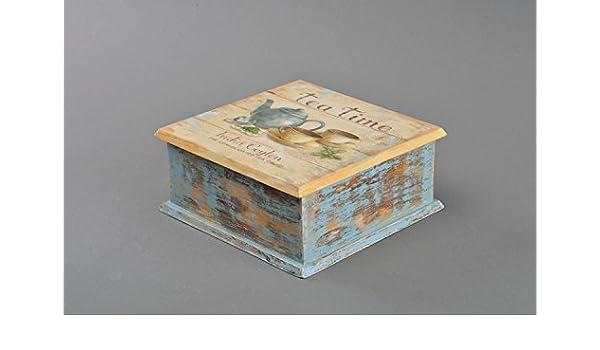 Caja de madera para te bonita hecha a mano en tecnica de decoupage: Amazon.es: Hogar