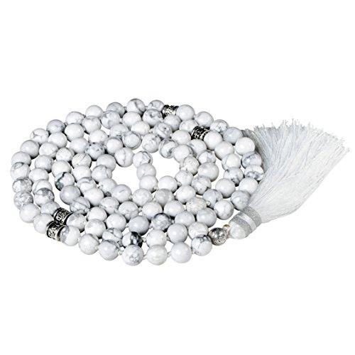 Mala Beads Necklace, Mala Bracelet, Buddhist Prayer Beads Necklace, Tassel Necklace (Howlite)