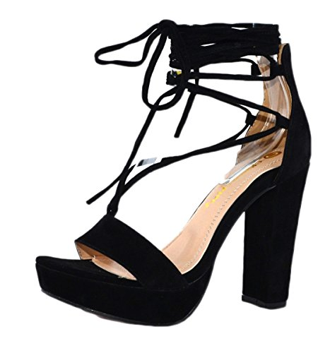 Chase & Chloe Womens Helen-1 Strappy Lace Up Platform Sandal Black pogGDP8