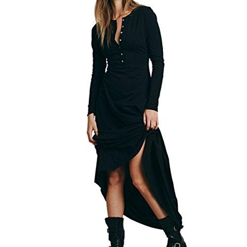 Sleeve Button Front Dress (CA Mode Women Summer Sheath T - shirt Straight Shift Maxi Button Down Shirt Dress,Black,Medium)