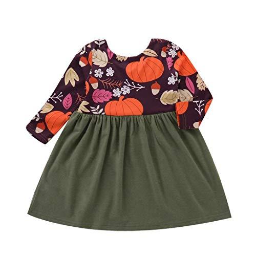 Hunzed Halloween Infant Baby Girls Pumpkin Print Splice Dress, Toddler Long Sleeve Dress (3T, Green)
