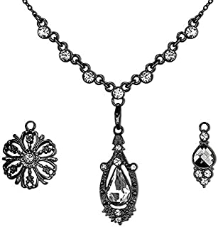 product image for 1928 Jewelry Hematite Color Crystal Interchangeable Pendant Necklace Boxed Set