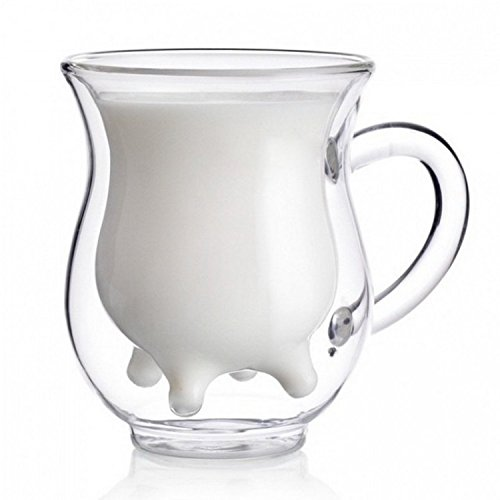 Creative Crystal Handcraft Borosilicate Glass Cup Creative Cute Calf and Half Transparent Heat-resisting Double-layer Cow Milk Glass Cup Creamer Pitcher (Milk Glass Cup)