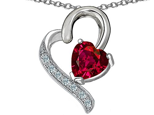 Godmother Heart (Star K 7mm Heart Shape Created Ruby Heart Pendant Necklace Sterling Silver)