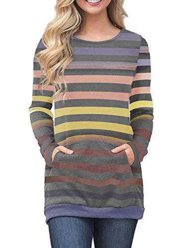 42269ba88 ... ShirtsFIYOTE Womens Casual Color Block Long Sleeve Tunic Sweatshirt Tops  with Kangaroo Pocket. 🔍. 1; 2