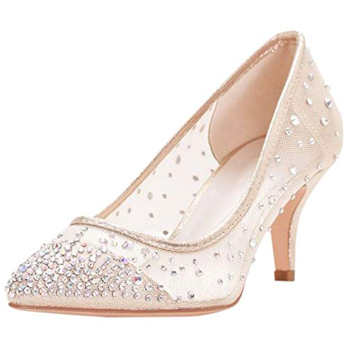 David's Bridal Mid-Heel Mesh Pointed-Toe Pumps Style HURLEY01, Nude, 6 Dyeable Satin Wedding Platform Shoes