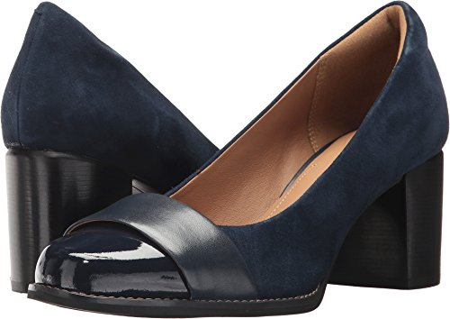 CLARKS Women's Tarah Brae Loafer, Navy Suede/Leather Combi, 100 M US