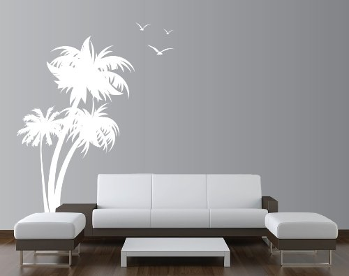 Innovative Stencils 1132 84 mwhite Palm Coconut Tree Nursery Wall Decal with Seagull Birds, White (White Tree And Bird Wall Decal)