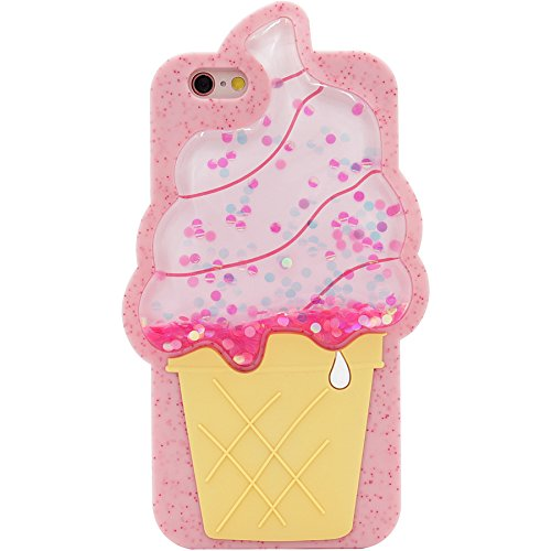 iPhone 6s Case, MC Fashion Cute 3D [Bling Bling Flowing Liquid Floating Glitter Stars], Shockproof and Protective Soft Flexible Silicone Case for Apple iPhone 6/6s (Ice Cream Cone)