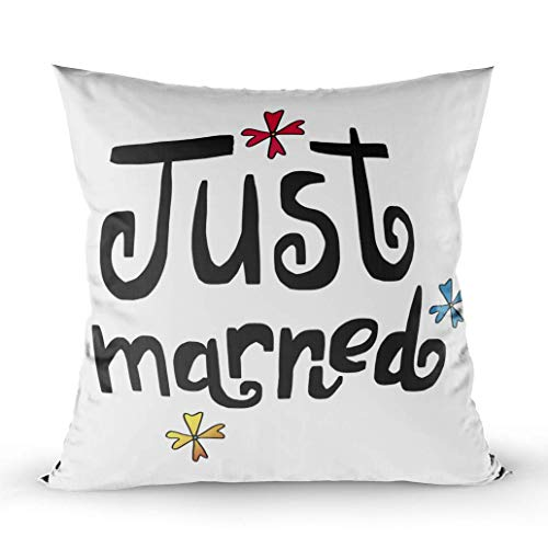 Throw Pillow Cushion Cover,Boys/Girls Room,Home Sofa Decor, Just Married Labels Card Wedding Invitation Flowers Throw Pillowcase for Couch,W 18
