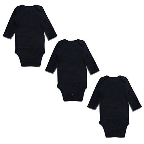 OPAWO Baby Bodysuits Long Sleeve for Unisex Boys Girls Black 3 Pack 0-3 ()