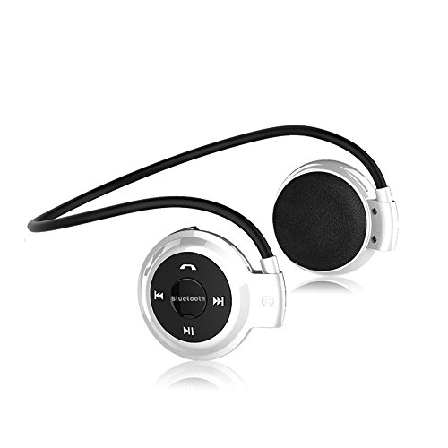 Happy Hours Trendy Mini Wireless Bluetooth 4.0 EDR Stereo Headset Headphone Earphone with Built-In Microphone Music Streaming & HandsFree Calling TF Card FM Function for Playstation Portable PSP PDA Laptops MP3/4/5 Phones Apple iPhone iPad Samsung HTC LG Blackberry MI Sony Nokia BH503 All Bluetooth Enabled Devices (White)