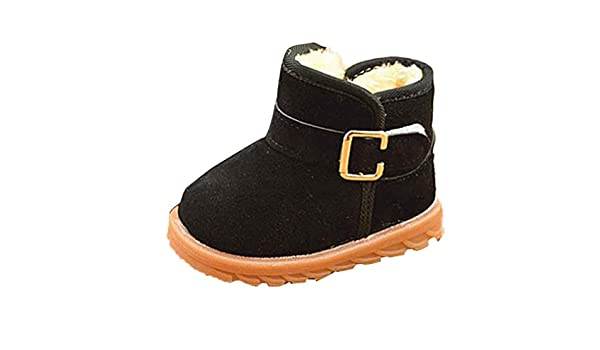 Egmy Baby Shoes Winter Baby Child Style Cotton Boot Warm Snow Boots US:6-6.5, Black
