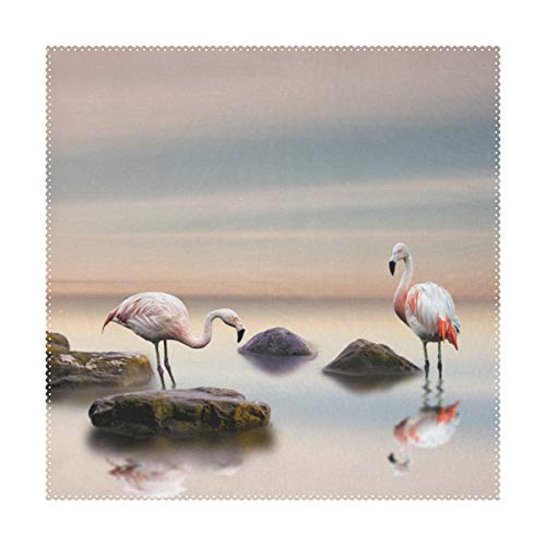 (Lennel Flamingo_Stones_Birds_Two_521720_6000X4000 Personalized Print Design Placemats,Washable Placemats for Dining Room Kitchen Table Decoration,12x12(in) ,Set of)
